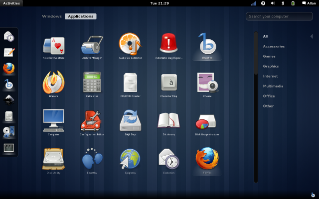 GNOME 3 Applications View