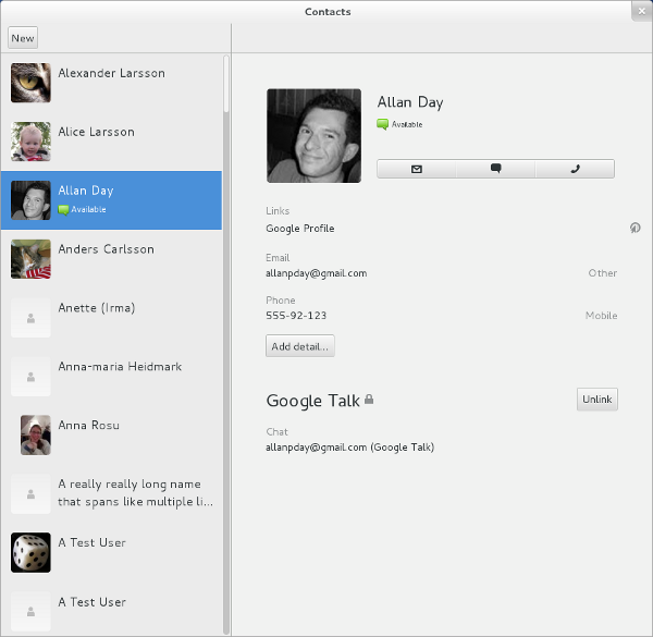 GNOME Contacts Screenshot