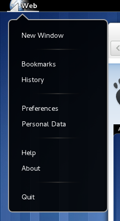 Epiphany Application Menu Screenshot