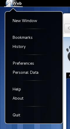 Epiphany Application Menu Screenshot