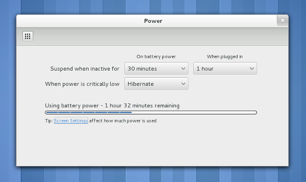 Power Settings Screenshot