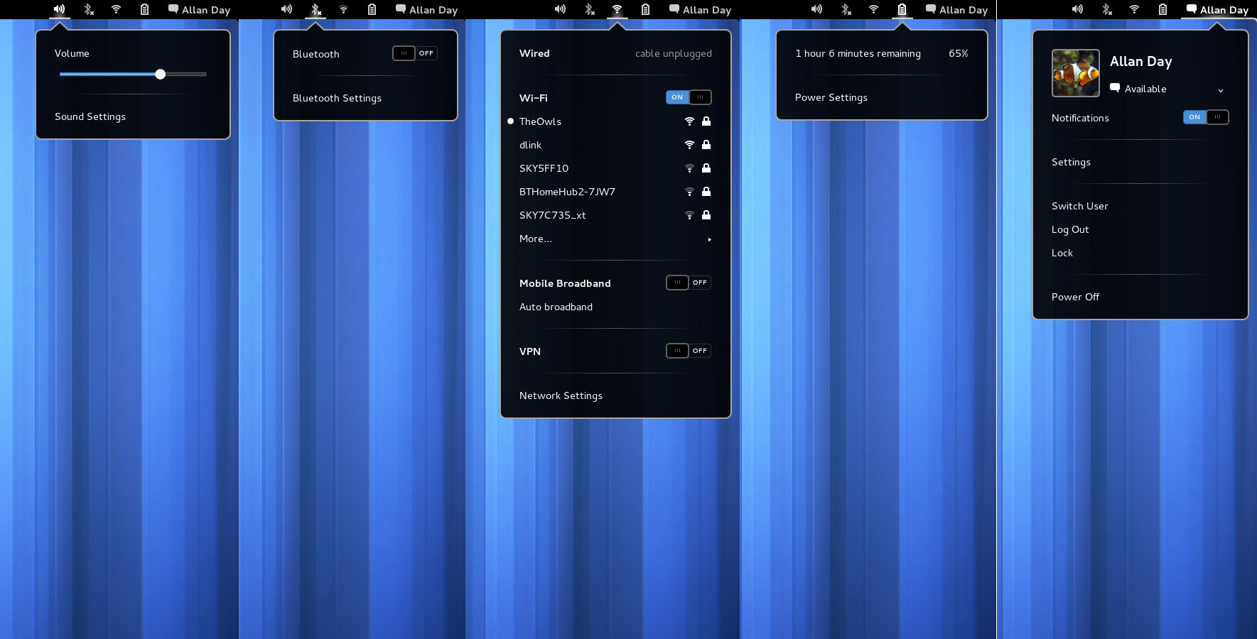 Separate system menus were last used in GNOME 3.8
